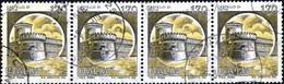 ITALIA, ITALIE, ITALY, CASTELLI, CASTLES, OSTIA, 1980, 4*170 L., USATO, STRISCIA DI 4 Sassone: IT 1514, Scott:IT 1418 - 1971-80: Usados