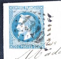 TB Lettre 5 Octobre 1870 Par Ballon Monté Timbre Empiré Français N° 22, 20 Centimes Dentelé Bleu De Dives - 1863-1870 Napoleon III Gelauwerd