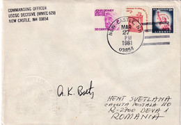 A8150- LETTER FROM NEW CASTLE 1981 COMMANDING OFFICER, US POSTAGE LIBERTY STAMPS, SENT TO DEVA ROMANIA - Brieven En Documenten