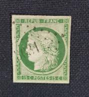 N°2  Type Cérès REPUB FRANÇAISE 15c Vert Oblitéré Chiffres 3031 Superbe Et Rare Signé Calves - 1849-1850 Cérès