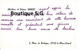 Carte De Visite Christine Patrice ROBERT Place De Bretagne Blanc Mesnil - Visiting Cards