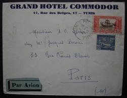 Tunisie 1933 Grand Hôtel Commodor (Tunis) Lettre Par Avion Pour Paris - Lettres & Documents