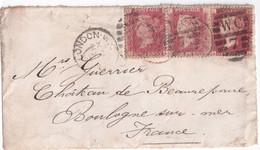 1877 - GB - YT 26 Avec PLANCHES 188 + 195 + 199 Sur DEVANT DE LETTRE De LONDON => BOULOGNE SUR MER - Covers & Documents