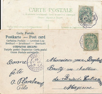 Cachet Convoyeur (44 - 53) Chateaubriant à Laval - Lot De 2 Cartes (cachets Différents) 1905 Et 1907 - Poste Ferroviaire