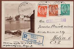 YUGOSLAVIA-CROATIA, KRALJEVICA, 5th EDITION-REGISTERED CENSORED CARD, ZAGREB To KOLIN, CZECH 1938 RARE!!!!!!!!!! - Interi Postali