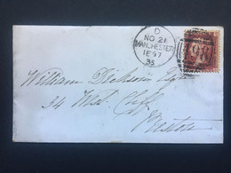 GB Victoria 1867 Cover Manchester Duplex To Preston Tied With 1d Red Plate 78 - Briefe U. Dokumente