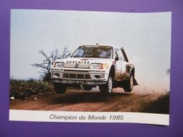 Sport Automobile 1985 Pilotes SALONEN HARJANNE Championnat Du Monde Des Rallyes Automobiles PEUGEOT 205 TURBO - Rally Racing