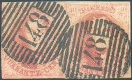 N°8(2) - Médaillons 40 Centimes Carmin En Paire, à Peine Effleurée Sur 1 Mm à Gauche Sinon TB Margée (ex. Droit Superbe) - 1851-1857 Medallions (6/8)