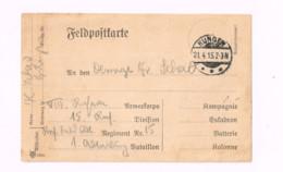 Feldpostkarte.Expédié De Hungen à 15.Inf.Div. - Lettres & Documents
