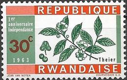 RWANDA 1963 First Anniversary Of Independence - 30c - Tea MNH - 1962-69: Mint/hinged