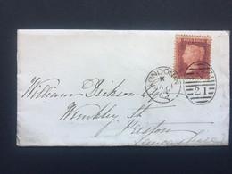GB Victoria 1863 Cover London Duplex To Preston Tied With 1d Red Star - Briefe U. Dokumente