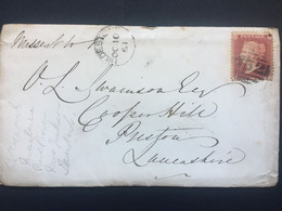 GB Victoria 1861 Cover Stowmarket To Preston Tied With 1d Red Star With Additional Ipswich Mark - Covers & Documents