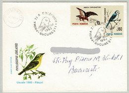 Rumänien / Romana 1993, Brief Ersttag Bucuresti, Lasurmeise / Parus Cyanus, Greifvogel / Aquila - Sperlingsvögel & Singvögel