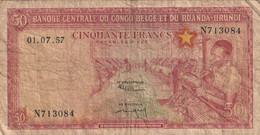 Billet 50 Banque Centrale Du Congo Belges Et Du Ruanda Uundi - Belgian Congo Bank