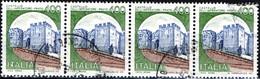 ITALIA, ITALIE, ITALY, CASTELLO DELL'IMPERATORE, 1980, 4*400 L, USATO, STRISCIA DI 4 Sassone: IT 1520, Scott:IT 1424 - 1971-80: Usados