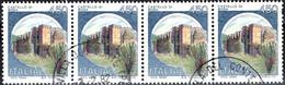 ITALIA, ITALIE, ITALY, CASTELLO DI BOSA, 1980, 4*450 L, USATO, STRISCIA DI 4 Sassone: IT 1521, Scott:IT 1425, Yt:IT 1450 - 1971-80: Usados
