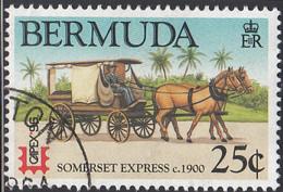 Bermuda 1996 Used Sc #713 25c Somerset Express Horse, Carriage CAPEX 96 - Bermudas