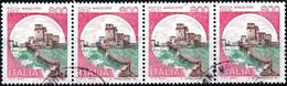ITALIA, ITALIE, ITALY, ROCCA MAGGIORE DI ASSISI, 1980, 4*800 L, USATO, STRISCIA DI 4 Sassone: IT 1525, Scott:IT 1429 - 1971-80: Usados