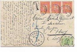 LE 1408. N° 108 (3) DEPÔT-RELAIS HOUTAIN St SIMEON * 6.X.13 * S/CP V. HUY - TTx 3 Càd HUY 1/D - 7.X.1913. TB - Postmarks With Stars