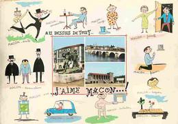 71 - Macon - Multivues - Dessins Humoristiques - CPM - Voir Scans Recto-Verso - Macon