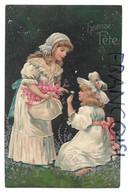 """Deux Jeunes Filles Romantiques Cueillent Des Fleurs:"""" Heureuse Fête"""". Relief, Argentée. - Autres"""