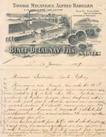 TISSAGE MÉCANIQUE BINET DELAUNAY FILS À LA MORINÈRE LÈS NANTES ............. CORRESPONDANCE COMMERCIALE DE 1907 - Vestiario & Tessile