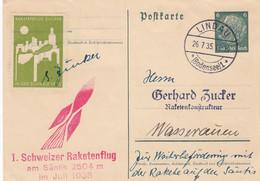 Deutsches Reich Postkarte Raketenflug 1935 - Cartas