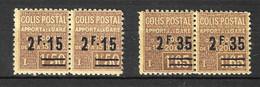 France Colis Postaux YT N° 89 Et N° 90 En Paires Neufs ** MNH. TB. A Saisir! - Mint/Hinged