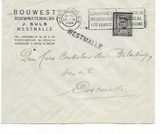"SH 0940. N° 384 ANTWERPEN 6 - 22.IV.1934 S/L. ""Bouwest J. Suls - Westmalle"" - GRIFFE WESTMALLE Vers Oostmalle. TB - Covers & Documents"
