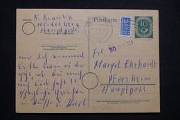 ALLEMAGNE - Entier Postal + Complément De Heidelberg Pour Pforzheim En 1954 - L 99556 - Cartoline - Usati