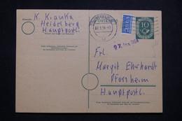 ALLEMAGNE - Entier Postal + Complément De Heidelberg Pour Pforzheim En 1954 - L 99557 - Cartoline - Usati