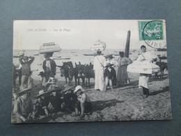 ARCACHON  Sur La Plage  , Livreurs Des Patisseries ROYERE & FOULON  , Tres Rare 1907 Gros Plan - Arcachon