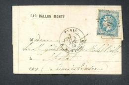 TB Lettre 5 Novembre 1870 Par Ballon Monté Pour Étretat Arrivé Le 9/11  La Ville De Châteaudun Dentelé Bleu N°29 - 1863-1870 Napoleon III Gelauwerd