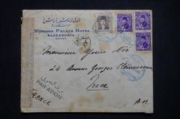 EGYPTE - Enveloppe Du Windsor Palace Hôtel D'Alexandria Pour La France Par Avion Avec Contrôle Postal - L 99568 - Storia Postale
