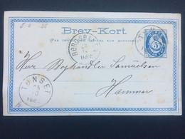 NORWAY 1880 Stationary Card / Brev-Kort Tonset (Tynset) To Hamar With Additional Rørosbanen Railway Postmark - Covers & Documents