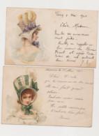 2 Cartes Fantaisie Dessinées / Jeune Femme Avec Un Chapeau - Women