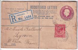 GB / ALSACE - 1925 - ENVELOPPE ENTIER POSTAL RECOMMANDEE De CHELSEA =>  LEYMEN (HAUT-RHIN) CACHET HEXAGONAL AU DOS - Alsazia Lorena