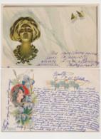 2 Cartes Fantaisie Dessinées / Visage De Femme  , Iris , Papillons , Style Art Nouveau . - Women