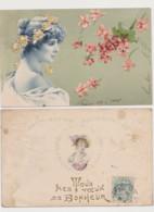 2 Cartes Fantaisie Dessinées / Visages De Femme - Women