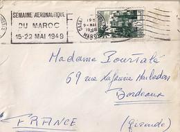"""MAROC N° 262 SUR LETTRE DE CASABLANCA POSTES / 9.5.49 + OMEC """"SEMAINE AERONAUTIQUE/../15-22 MAI 1949"""" POUR LA FRANCE - Storia Postale"""