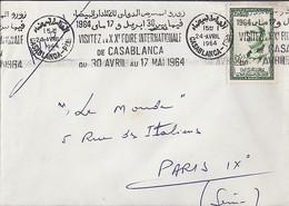 """MAROC N° 366 SUR LETTRE DE CASABLANCA Ppal/24.4.64 POUR LA FRANCE + OBL. MEC. """"XX° FOIRE INTERNATIONALE DE CASABLANCA... - Morocco (1956-...)"""