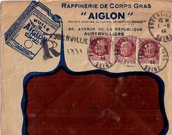 TYPE PETAIN N° 517x3 SUR L. REC. PROVISOIRE DE AUBERVILLIERS / 1.8.44  +  ENTETE - 1941-42 Pétain
