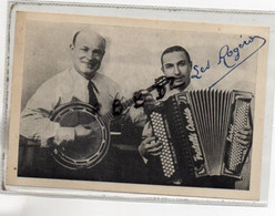CARTE PUBLICITAIRE - MUSICIENS ACCORDEON BANJO - LES ROGERO - Vers 1947 - FRANCE - Accordéon Robert Corbin - Pas Courant - Musique Et Musiciens