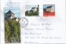Chateau De Vaduz, Sur Lettre Liechtenstein, Envoyée Andorra, Avec Timbre à Date Arrivée - Covers & Documents
