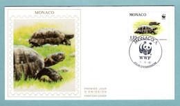 FDC Monaco 1991 - Protection De La Nature - WWF - Tortue Hermann - Couple De Tortue - YT 1805 - (soie) - FDC