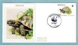 FDC Monaco 1991 - Protection De La Nature - WWF - Tortue Hermann - Tortue Dans L'herbe - YT 1806 - (soie) - FDC