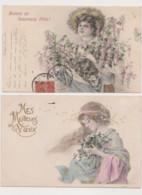 2 Cartes Fantaisie Dessinées / Jeune Femme Avec Une Brassée De Fleurs - Women