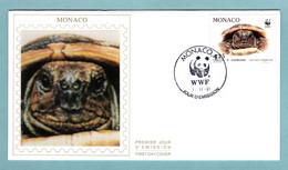 FDC Monaco 1991 - Protection De La Nature - WWF - Tortue Hermann - Tortue Vue - YT 1807 - (soie) - FDC