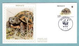 FDC Monaco 1991 - Protection De La Nature - WWF - Tortue Hermann - Tortue Et Feuilles - YT 1808 - (soie) - FDC
