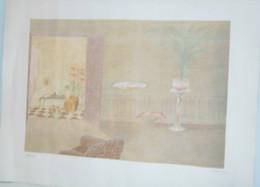 LITHOGRAPHIE Intérieur ART DECO Tons Pastels Signée HAMER N° 231/300 Collection DECO VITRINE - Lithographies